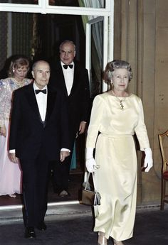 François Mitterrand, president of France, and Helmut Kohl, chancellor of Germany, 1991 | Queen Elizabeth II Pictured With World Leaders During Her Record-Breaking Reign