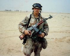 soldier near the Kuwait International Airport with acquired Type 56 in Military Guns, Military Art, Military History, Military Uniforms, 7th Infantry Division, Us Marines, United States Army, Modern Warfare, Special Forces
