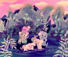 disneyland-data:  Peter Pan's Mermaid Lagoon, concept art by Mary Blair.