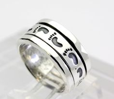 Hand Stamped Style Sterling Silver Spinner Wide Band Ring size 6.5 #Band