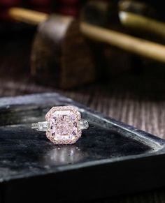 A 5.03 carats Internally Flawless clarity Fancy Light Pink Diamond and Diamond Ring