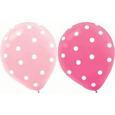 "20 ct Round Helium Quality 12"" Pink Polka Dot Balloons"