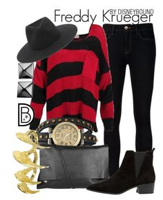 """Freddy Krueger"" by leslieakay ❤ liked on Polyvore featuring Ström, Bling Jewelry, Arlington Milne, MANGO, rag & bone, Bjørg, Waterford and Halloween"