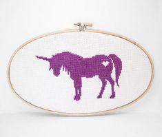 Finished Cross Stitch Wall Art  Unicorn by kattuna on Etsy