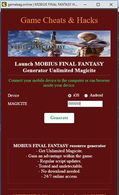 Do you need additional Unlimited Magicite? Hack MOBIUS FINAL FANTASY directly from your browser. Fantasy App, Mobius Final Fantasy, Fantasy Generator, App Hack, Game Resources, Game Update, Test Card, Hack Tool, Mobile Game