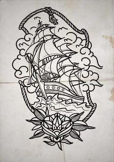 Tattoo Traditional Ship Ideas Ideas - Tattoo Traditional Ship Ideas Ideas You are in the right place about tattoo frauen Her - Traditional Ship Tattoo, Traditional Tattoo Old School, Nature Tattoos, Body Art Tattoos, Sleeve Tattoos, Tattoo Sketches, Tattoo Drawings, Tattoos Faciles, Nautical Tattoo Sleeve