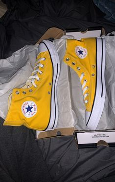 Yellow hightop converse on Mercari Converse All Star, Mode Converse, High Top Converse Outfits, Yellow Converse, Converse Men, Converse High, Converse Chuck Taylor High, High Top Sneakers, Aesthetic Shoes