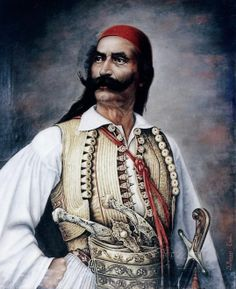 Odysseas Androutsos (or Odysseus Androutsos); (Greek: Οδυσσέας Ανδρούτσος) was a hero of the Greek War of Independence Caucasian Race, Greek Independence, Greek Warrior, Greek History, Greek Music, Ancient Greece, Leather Ottoman, Armour, Costumes