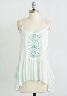 Fetching and Refreshing Top - Mid-length, Jersey, Woven, Lace, Mint, Embroidery, Lace, Casual, Beach/Resort, Boho, Sleeveless, Summer, Good, Scoop