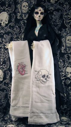 Anatomical Skull and Heart Embroidered Towels by HouseBathory, $20.00