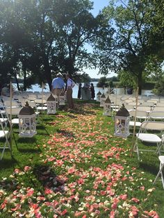Lake wedding - Ceremony aisle - lanterns