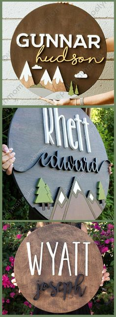 These signs are beautiful, I love the mountain landscapes! Custom Wood Name Sign, Rustic Nursery Dec Farmhouse Nursery Decor, Woodland Nursery Boy, Rustic Nursery Boy, Woodland Nursery Decor, Woodland Theme, Woodland Baby Shower Decor, Outdoor Nursery, Woodland Art, Bedroom Rustic