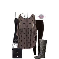 Set 254: Charcoal Dot Tunic (boots & bag sold separate)