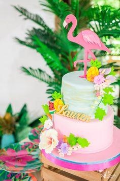 Tropical flamingo cake from a Chic Flamingo Birthday Party on Kara's Party Ideas | KarasPartyIdeas.com (15)