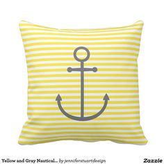 Yellow and Gray Nautical Stripes and Cute Anchor
