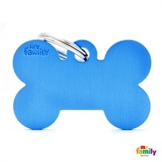 Show details for Big Bone Aluminum Blue Pet Name Tag
