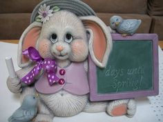 This ceramic bunny measures approx. lengh high has a piece of chalk in his paw ready to countdown to spring! Everything on my site is made to order Ready To Paint Ceramics, Christmas Nativity Set, Ceramic Bisque, Ceramic Animals, Sculpture Clay, Cold Porcelain, Easter Bunny, Christmas Decorations, Teddy Bear