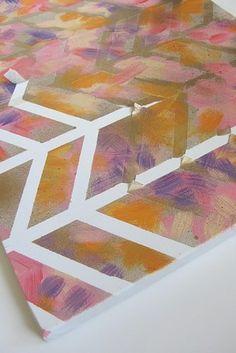 Cuadro de cheurón | 18 Proyectos de arte fáciles para hacer tú mismo con acuarelas