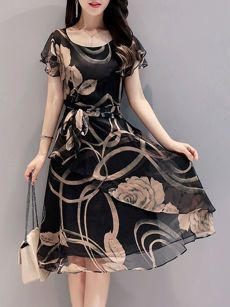 0060d93d71 Round Neck Hollow Out Printed Bowknot Chiffon Skater Dress Skater Kleidung