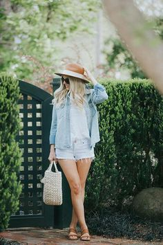 Casual look for spring - wide brimmed hat, chambray shirt, white denim shorts with a bandana around the neck