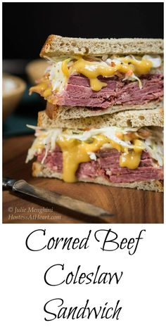 A Corned Beef Cabbage Slaw Sandwich that is layered with a brown sugar mustard sauce and topped with a creamy caraway slaw | HostessAtHeart.com