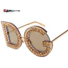 9757e3e9bf5 Samjune D and G Round Sunglasses 2018 New Women Square Luxury Brand Crystal  Sun glasses Ladies Red Yellow Pink Bling Gemstone DG