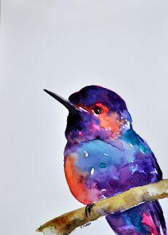ORIGINAL Watercolor Painting Purple Blue by ArtCornerShop on Etsy