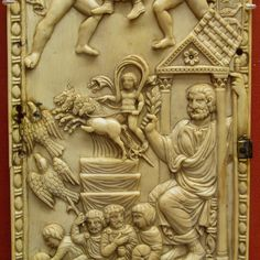 STAR GATES: 400 AD.  Detail of a panel showing the apotheosis (deification) of a wealthy pagan.  Is it a Star Gate? Here a god drivers upwards from the funeral pyre. The eagles represent souls ascending. The large figure on the right is the deceased, possibly Quintus Aureius Symmachus.