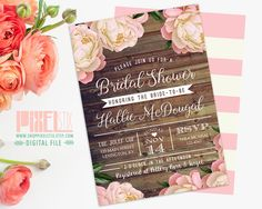 220 best pixelstix bridal shower invitations images on pinterest rustic bridal shower invitation vintage peony barn wood style pink and brown country western invi filmwisefo