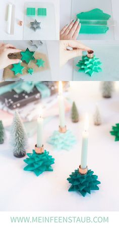 DIY: Star candle holder made of FIMO Creative DIY idea for DIY and handicrafts in Advent: Star candle holder made of FIMO in the form of Christmas trees as a craft idea for Christmas The post DIY: Sta Crafts For Teens To Make, Diy For Teens, Diy And Crafts, Diy Star, Ard Buffet, Diy Y Manualidades, Christmas Crafts, Xmas, Christmas Trees