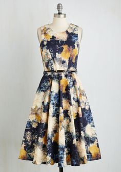 Light and Visionary Dress by Closet - Multi, Blue, Floral, Print, Belted, Daytime Party, Fit & Flare, Sleeveless, Woven, Better, Long, Cotton