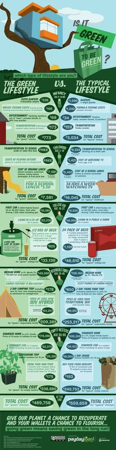 A sustainable lifestyle does not cost more. This infographic explains that a lot of green choices cost little or nothing. When you add them altogether, you may be saving money. (Does a sustainable lifestyle really cost more? Green Life, Go Green, Green Cars, Eco Friendly House, New Energy, Save Energy, Off The Grid, Renewable Energy, Solar Energy