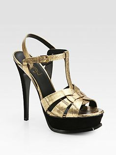 Saint Laurent Tribute Sandals in Gold Eel Skin and Black Suede $1095