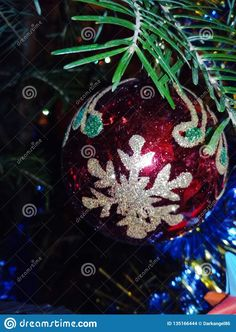 Photo about Christmas decoration close-up with snowflake on the christmas tree. Photographed indoors in Romania. Image of christmas, snowflake, reflection - 135166444 Christmas Images, Christmas Bulbs, Christmas Decorations, Holiday Decor, Romania, Close Up, Snowflakes, Reflection, Indoor