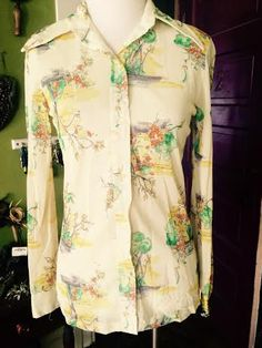 Vintage women's 1970's sheer printed button up. size XS/SM by CerealVintageThrift on Etsy