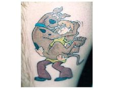 Shaggy Carrying Scooby Colored Leg Tattoo