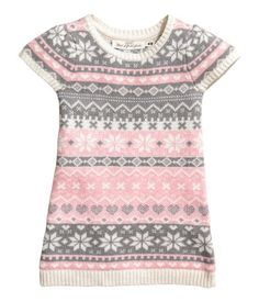 Light pink. Jacquard-knit dress in a cotton blend with alpaca wool content. Short sleeves and ribbing at neckline, cuffs, and hem.