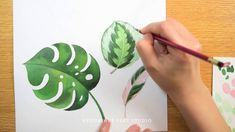 Tropical Leaves - Watercolor painting process