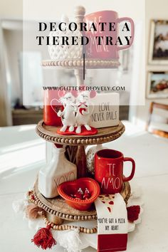 Valentines Day Tiered Tray Decor to try! #tieredtraydecor #valentinesdaydecor