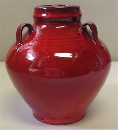 "The ""signature"" red glaze by Original Owens Pottery has exquisite depth and sheen which give the famous glaze its distinct look. This is a large 3 handle vase large taper holder is made by Nancy Owens Brewer. This red glaze is low fire Red Vases, Blowing Rock, Safe Food, Red Color, Valentine Gifts, Glaze, Pottery, Ceramics, The Originals"