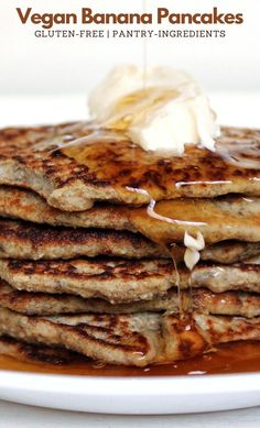 Stack 'em high and bring out the syrup. These vegan, banana pancakes are made with just 7 ingredients and they are gluten-free. #plantbased #pancakes #breakfast #vegan #pantryfriendly #easyrecipes #recipes #food #kidfriendly #banana #bananapancakes #glutenfreepancakes #glutenfree #healthy