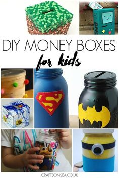 DIY Money Box Crafts for Kids Kids money box, Money saving box diy craft box for kids - Kids Crafts Kids Money Box, Diy Money Box Ideas, Money Saving Box, Diy Locker, Money Jars, Savings Box, Diy Y Manualidades, Diy Blanket Ladder, Craft Box