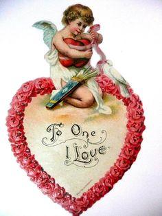 Vintage Valentine Card Victorian Valentine Card by josiefinds