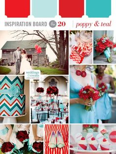When color is mandatory, poppy and teal is a fabulous combination. Especially when mixed with come chevron patterns...