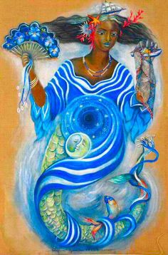 YEMAYA: One of the ORISHAS, she is the Mother of Waters and CHildbirth, and has stylish color preferences of blue and crystal.