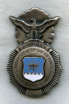 air police | ... Online Store: SOLD!!! Late 1950s Type 2 US Air Force Air Police Badge