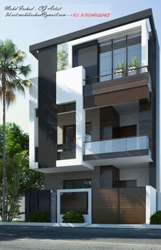 Indian Home Design, Indian House Exterior Design, Modern Exterior House Designs, Narrow House Designs, Modern House Facades, Loft House Design, 3 Storey House Design, Bungalow Haus Design, Glass House Design