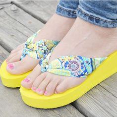 Shoes Woman Flip Flops Sandals Foam Zapatos Mujer Sweet Ladies Shoe Summer Wedge Heel Bohemia Beach Flip-flop Casual Sapatos NEW