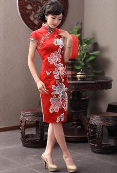 $449.90  Chinese Wedding Qipao Bride Elegant Silk Wedding Cheongsam with Hand-made Peony Embroidery