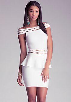 bachelorette: Cage Detail Peplum Dress